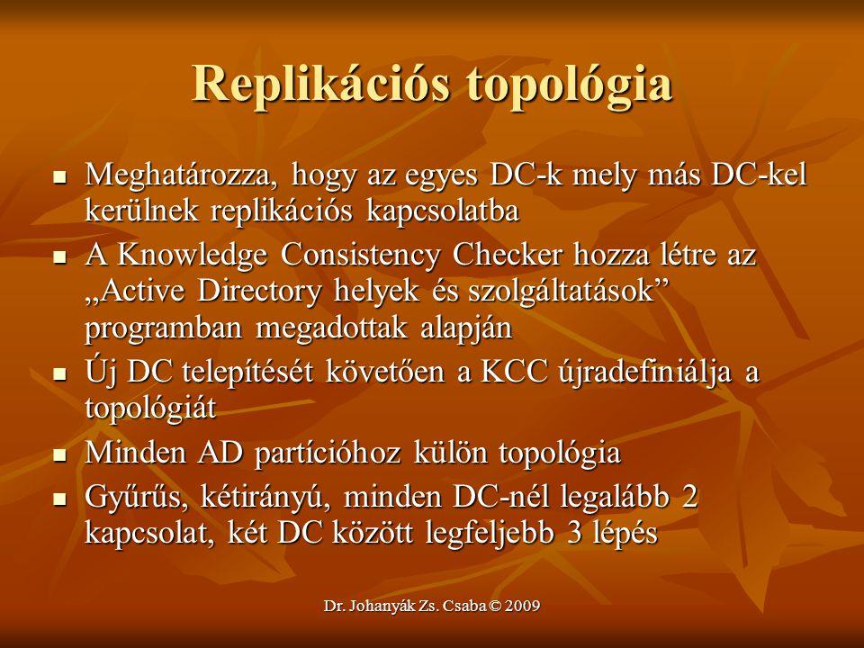 Dr. Johanyák Zs. Csaba © 2009 Replikációs topológia Meghatározza, hogy az egyes DC-k mely más DC-kel kerülnek replikációs kapcsolatba Meghatározza, ho