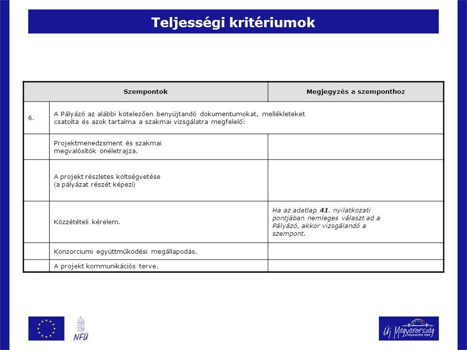 Teljességi kritériumok SzempontokMegjegyzés a szemponthoz 6. A Pályázó az alábbi kötelezően benyújtandó dokumentumokat, mellékleteket csatolta és azok