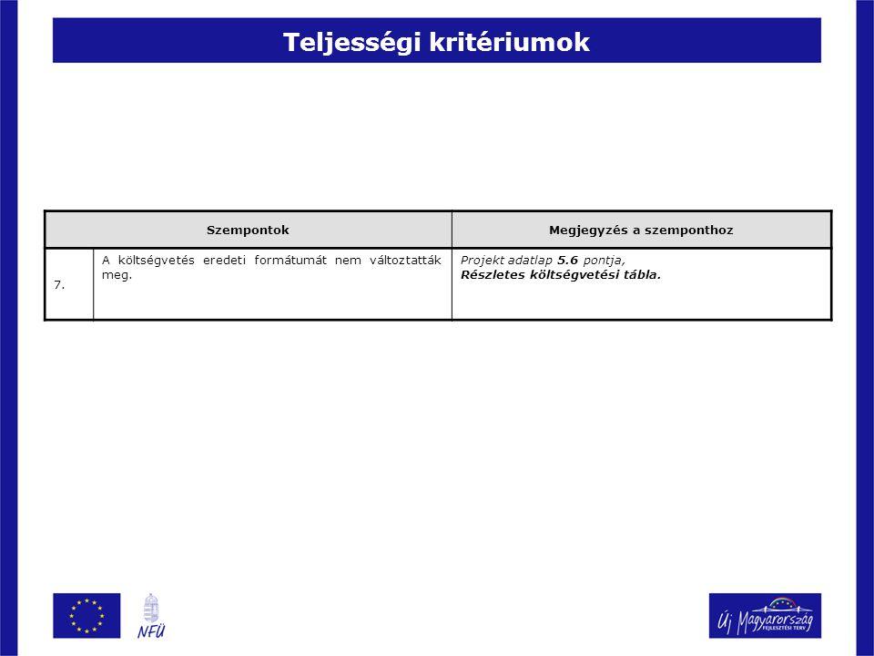 Teljességi kritériumok SzempontokMegjegyzés a szemponthoz 7. A költségvetés eredeti formátumát nem változtatták meg. Projekt adatlap 5.6 pontja, Részl