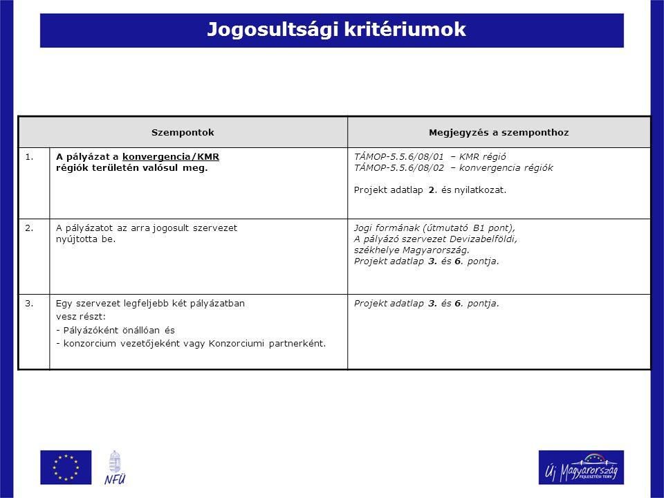 Jogosultsági kritériumok SzempontokMegjegyzés a szemponthoz 1.A pályázat a konvergencia/KMR régiók területén valósul meg. TÁMOP-5.5.6/08/01 – KMR régi