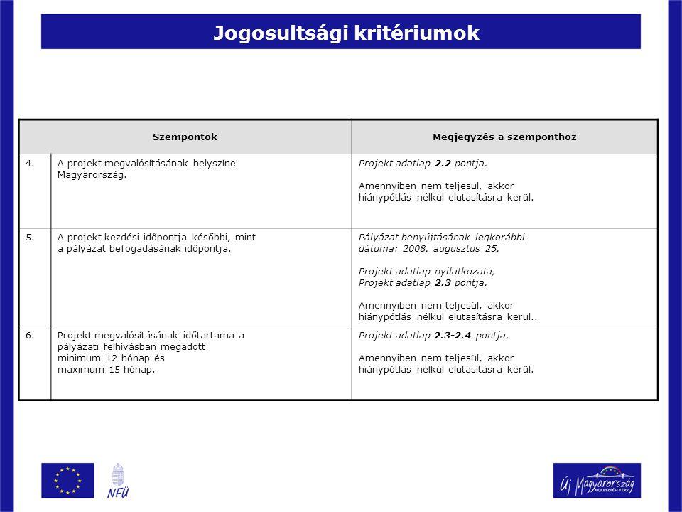 Jogosultsági kritériumok SzempontokMegjegyzés a szemponthoz 4.A projekt megvalósításának helyszíne Magyarország. Projekt adatlap 2.2 pontja. Amennyibe