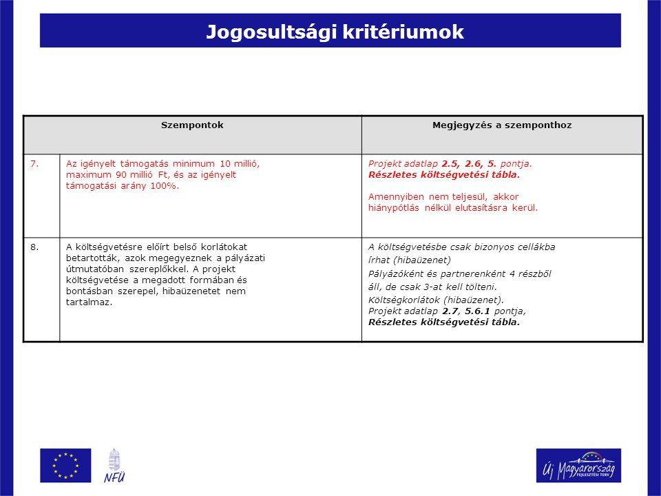 Jogosultsági kritériumok SzempontokMegjegyzés a szemponthoz 7.Az igényelt támogatás minimum 10 millió, maximum 90 millió Ft, és az igényelt támogatási