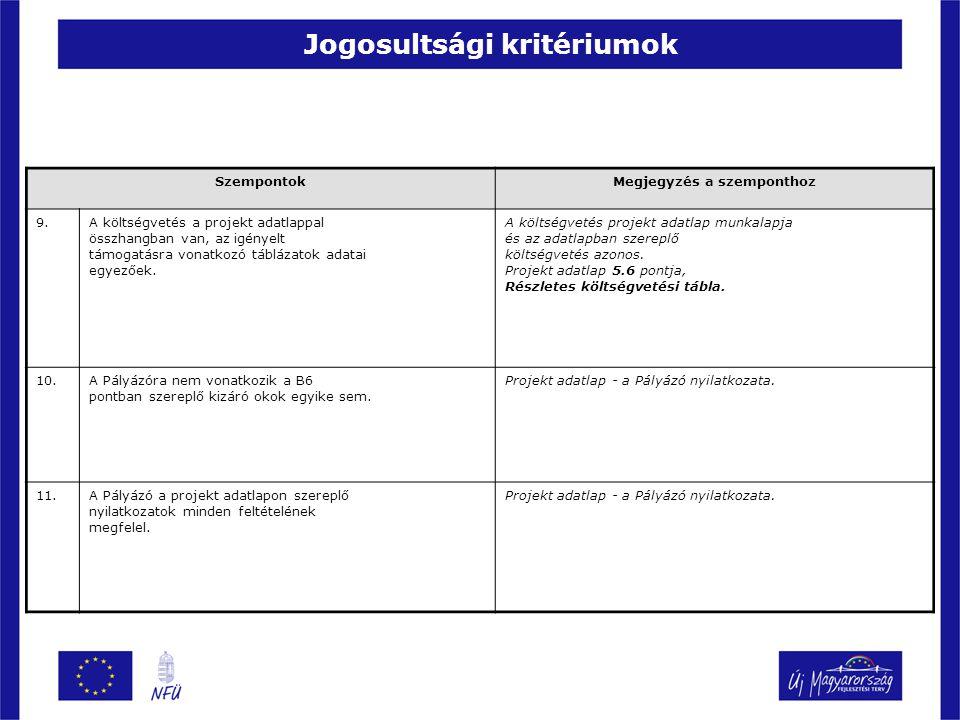 Jogosultsági kritériumok SzempontokMegjegyzés a szemponthoz 9.A költségvetés a projekt adatlappal összhangban van, az igényelt támogatásra vonatkozó t