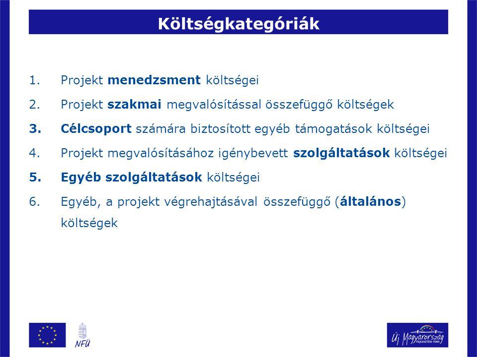 Költségkategóriák 1.Projekt menedzsment költségei 2.Projekt szakmai megvalósítással összefüggő költségek 3.Célcsoport számára biztosított egyéb támoga