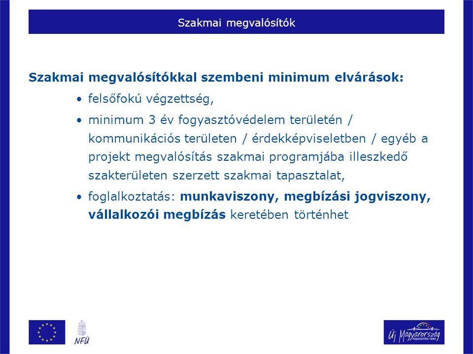 Szakmai megvalósítók Szakmai megvalósítókkal szembeni minimum elvárások: felsőfokú végzettség, minimum 3 év fogyasztóvédelem területén / kommunikációs