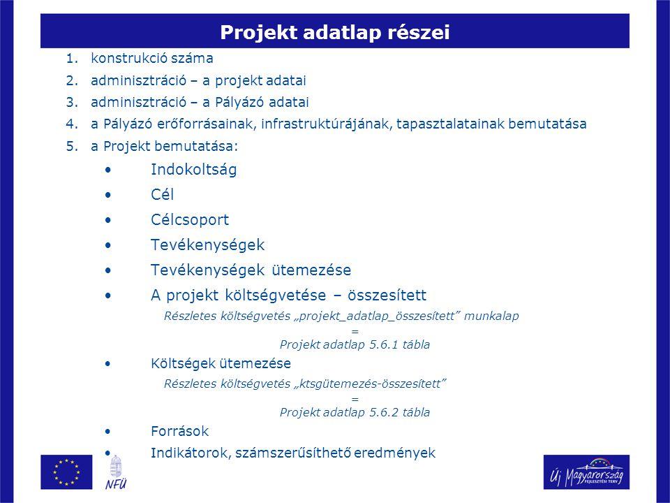 Projekt adatlap részei 1.konstrukció száma 2.adminisztráció – a projekt adatai 3.adminisztráció – a Pályázó adatai 4.a Pályázó erőforrásainak, infrast