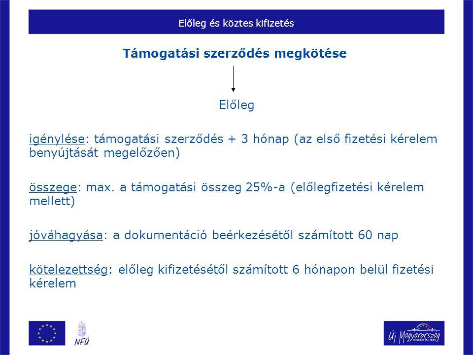 Előleg és köztes kifizetés Támogatási szerződés megkötése Előleg igénylése: támogatási szerződés + 3 hónap (az első fizetési kérelem benyújtását megel