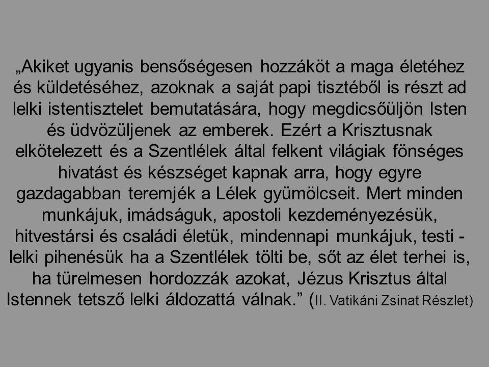 Isten dicsőségének hirdetése A királyi pap: - Tanúságtevő - Dicsőítő (eucharisztikus)