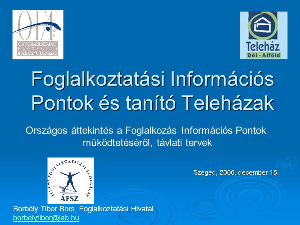 Foglalkoztatási Információs Pontok és tanító Teleházak Szeged, 2006.