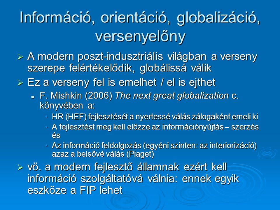 Információ, orientáció, globalizáció, versenyelőny  A modern poszt-indusztriális világban a verseny szerepe felértékelődik, globálissá válik  Ez a verseny fel is emelhet / el is ejthet F.