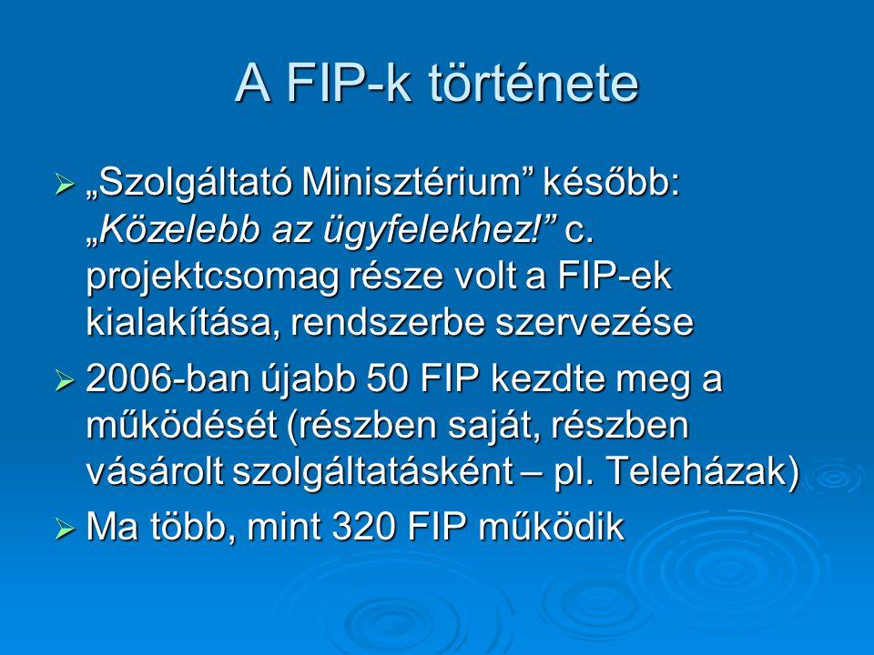 """A FIP-k története  """"Szolgáltató Minisztérium később: """"Közelebb az ügyfelekhez! c."""