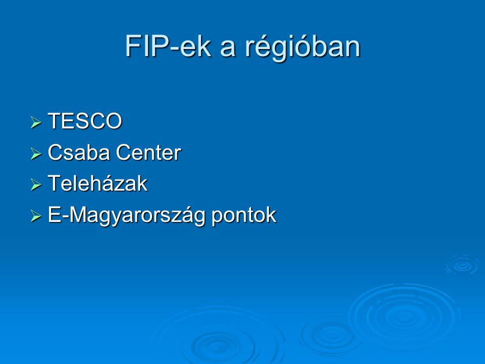FIP-ek a régióban  TESCO  Csaba Center  Teleházak  E-Magyarország pontok