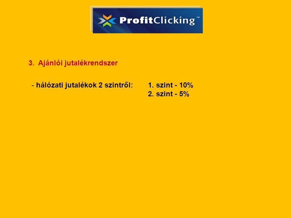 3. Ajánlói jutalékrendszer - hálózati jutalékok 2 szintről: 1. szint - 10% 2. szint - 5%