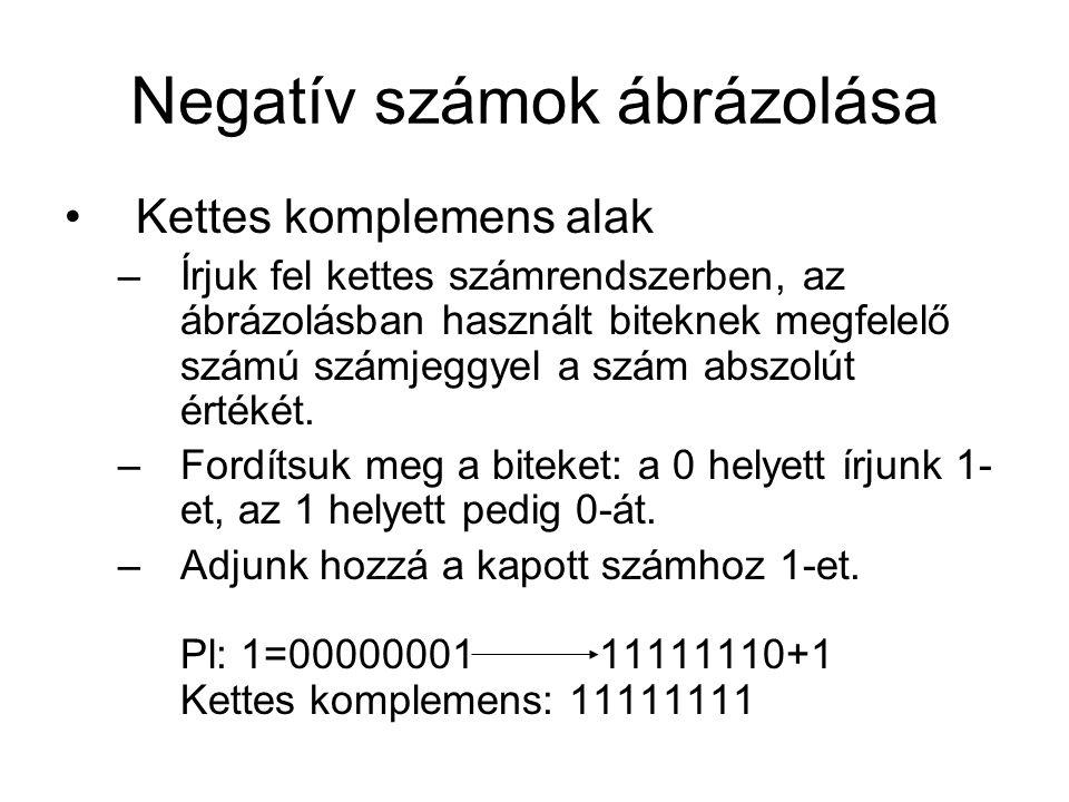 Negatív számok ábrázolása Kettes komplemens alak –Írjuk fel kettes számrendszerben, az ábrázolásban használt biteknek megfelelő számú számjeggyel a sz