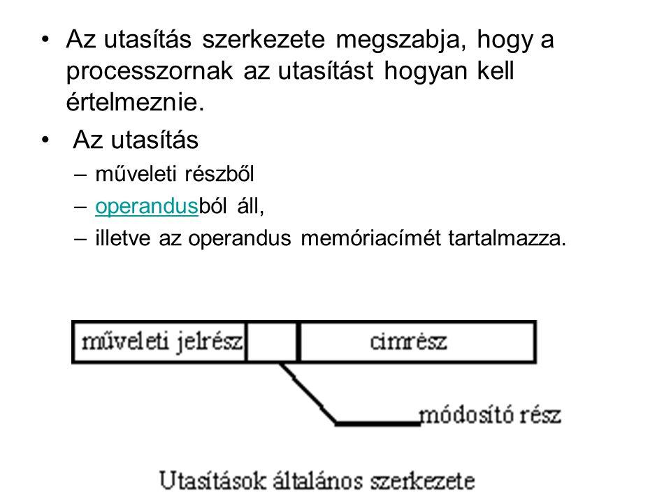 Az utasítás szerkezete megszabja, hogy a processzornak az utasítást hogyan kell értelmeznie. Az utasítás –műveleti részből –operandusból áll,operandus