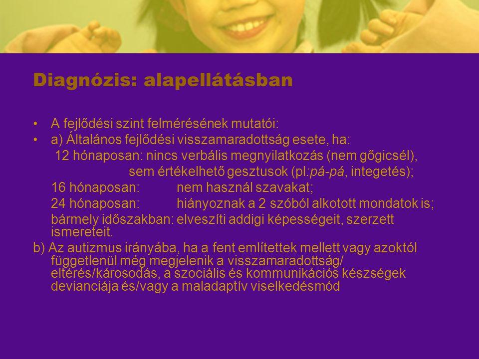 Diagnózis: alapellátásban A fejlődési szint felmérésének mutatói: a) Általános fejlődési visszamaradottság esete, ha: 12 hónaposan: nincs verbális meg