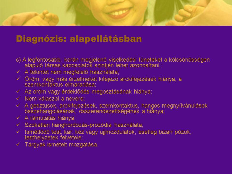 Diagnózis: alapellátásban c) A legfontosabb, korán megjelenő viselkedési tüneteket a kölcsönösségen alapuló társas kapcsolatok szintjén lehet azonosít