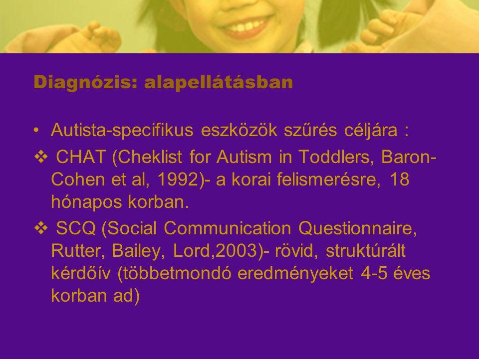Diagnózis: alapellátásban Autista-specifikus eszközök szűrés céljára :  CHAT (Cheklist for Autism in Toddlers, Baron- Cohen et al, 1992)- a korai fel