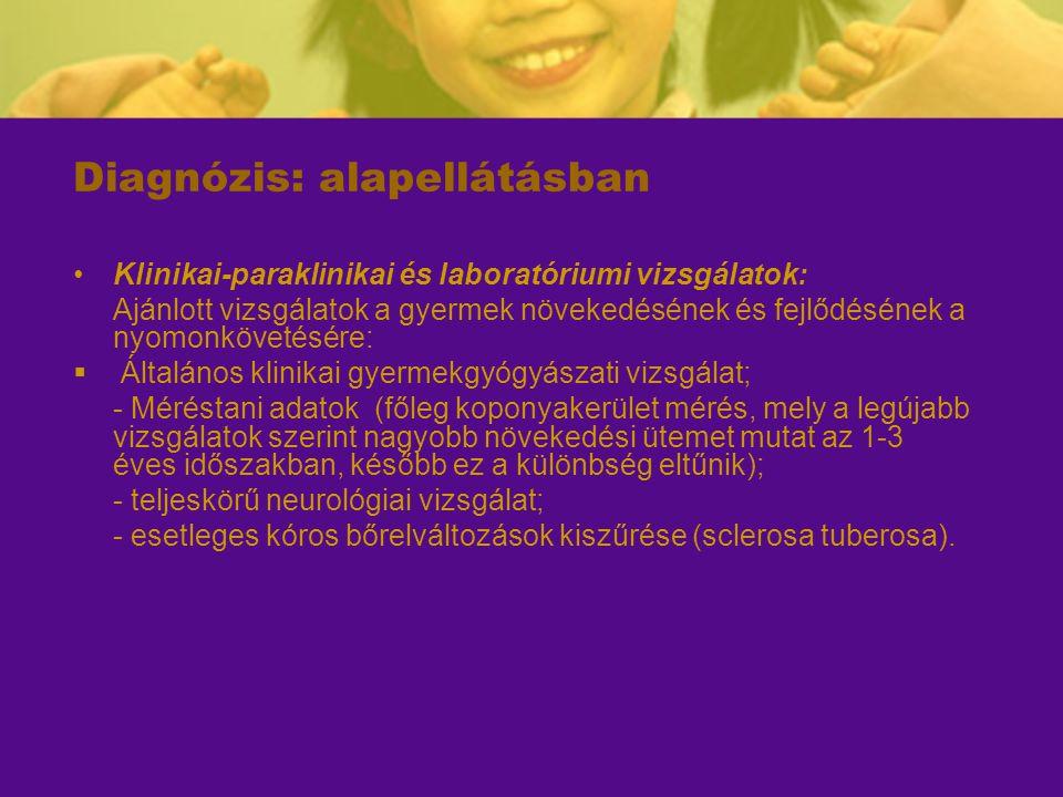 Diagnózis: alapellátásban Klinikai-paraklinikai és laboratóriumi vizsgálatok: Ajánlott vizsgálatok a gyermek növekedésének és fejlődésének a nyomonköv