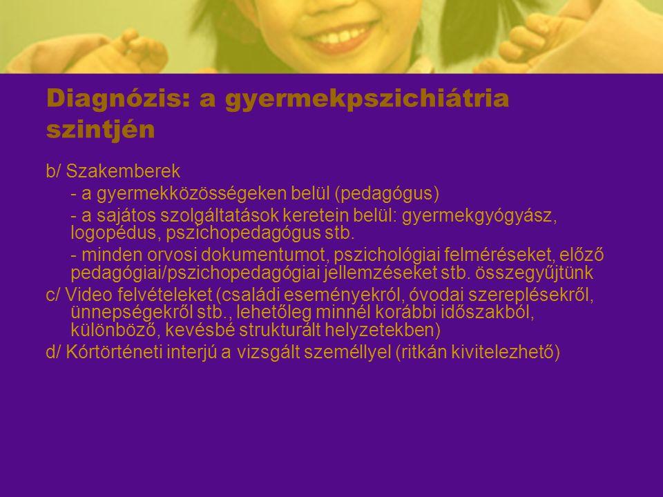 Diagnózis: a gyermekpszichiátria szintjén b/ Szakemberek - a gyermekközösségeken belül (pedagógus) - a sajátos szolgáltatások keretein belül: gyermekg