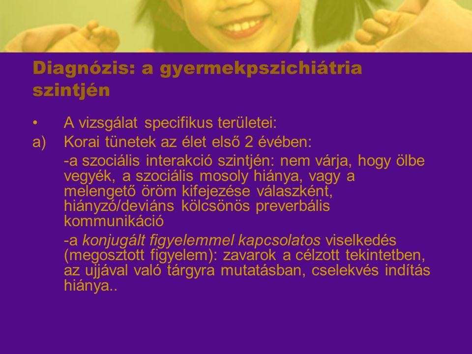 Diagnózis: a gyermekpszichiátria szintjén A vizsgálat specifikus területei: a)Korai tünetek az élet első 2 évében: -a szociális interakció szintjén: n