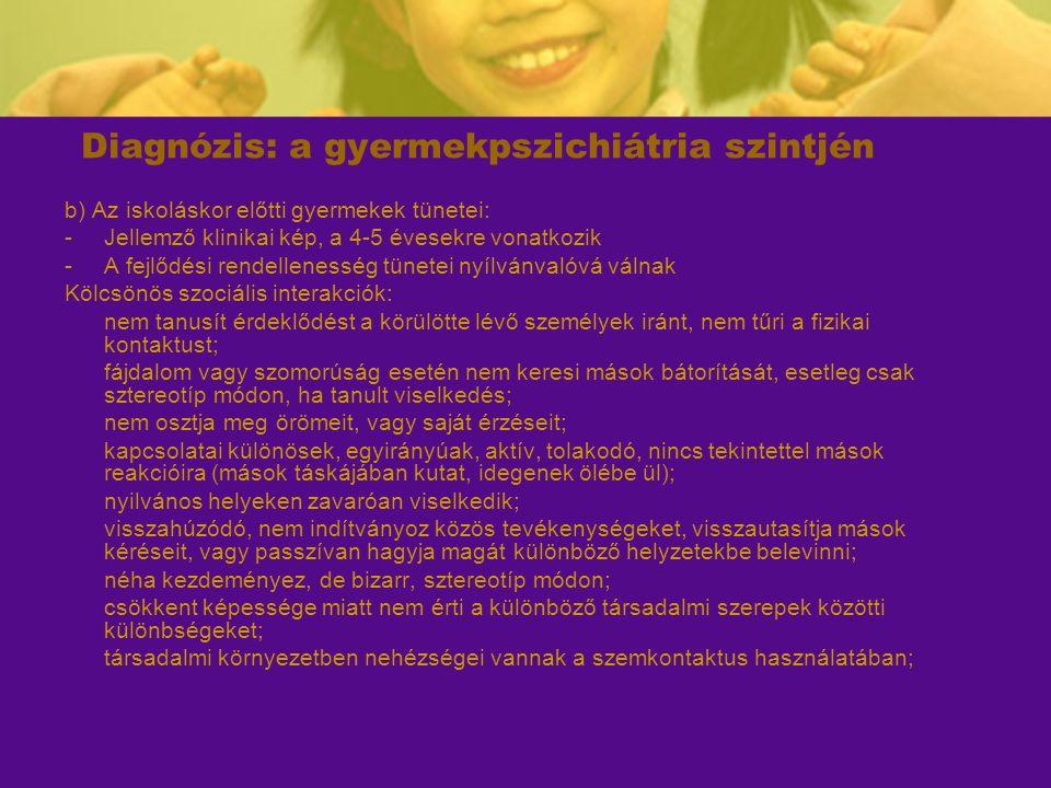 Diagnózis: a gyermekpszichiátria szintjén b) Az iskoláskor előtti gyermekek tünetei: -Jellemző klinikai kép, a 4-5 évesekre vonatkozik -A fejlődési re