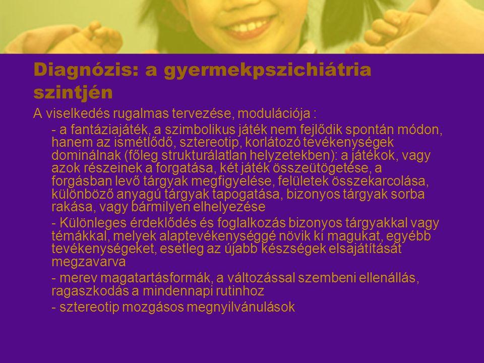 Diagnózis: a gyermekpszichiátria szintjén A viselkedés rugalmas tervezése, modulációja : - a fantáziajáték, a szimbolikus játék nem fejlődik spontán m