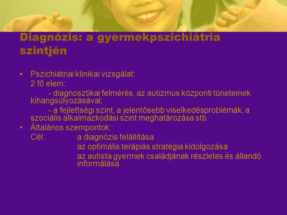 Diagnózis: a gyermekpszichiátria szintjén Pszichiátriai klinikai vizsgálat: 2 fő elem: - diagnosztikai felmérés, az autizmus központi tüneteinek kihan