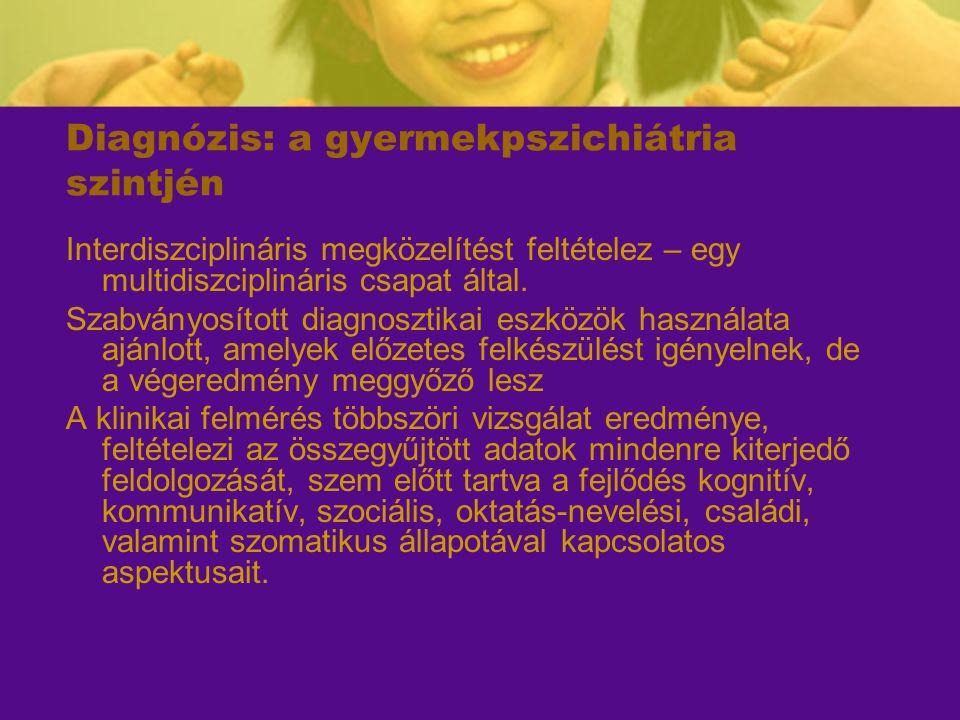 Diagnózis: a gyermekpszichiátria szintjén Interdiszciplináris megközelítést feltételez – egy multidiszciplináris csapat által. Szabványosított diagnos