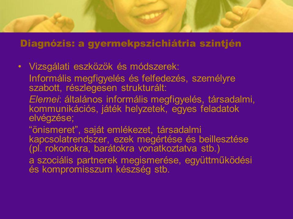 Diagnózis: a gyermekpszichiátria szintjén Vizsgálati eszközök és módszerek: Informális megfigyelés és felfedezés, személyre szabott, részlegesen struk