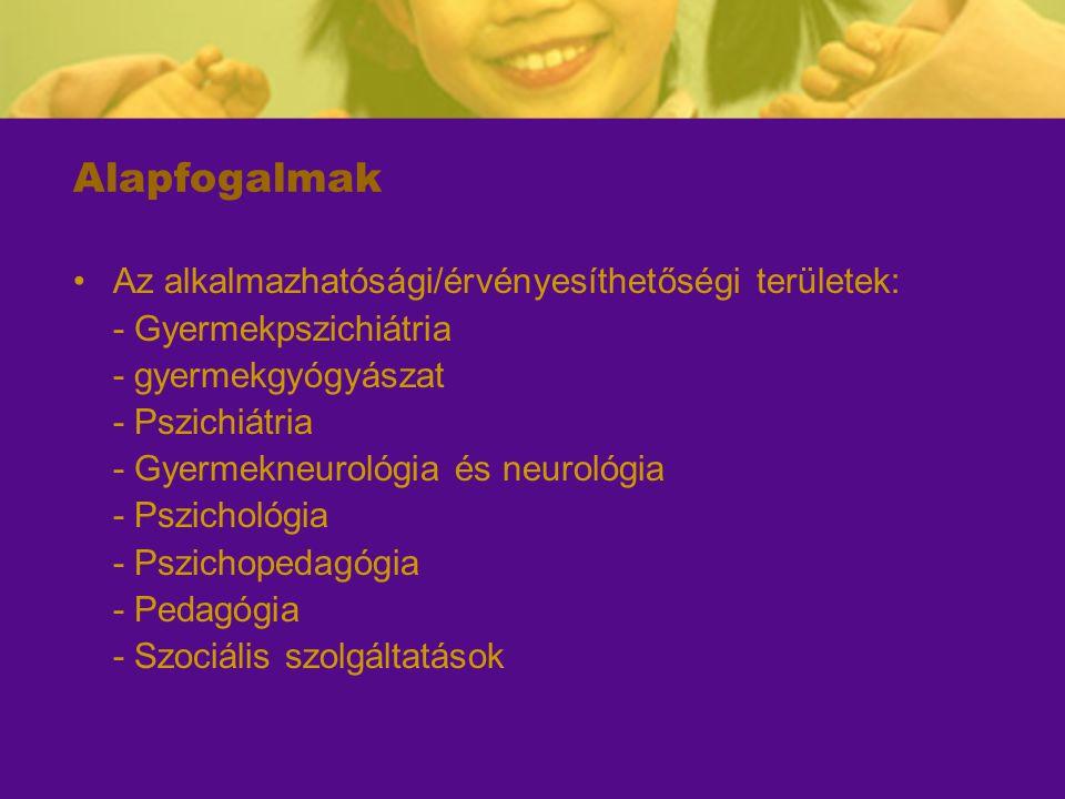Alapfogalmak Az alkalmazhatósági/érvényesíthetőségi területek: - Gyermekpszichiátria - gyermekgyógyászat - Pszichiátria - Gyermekneurológia és neuroló