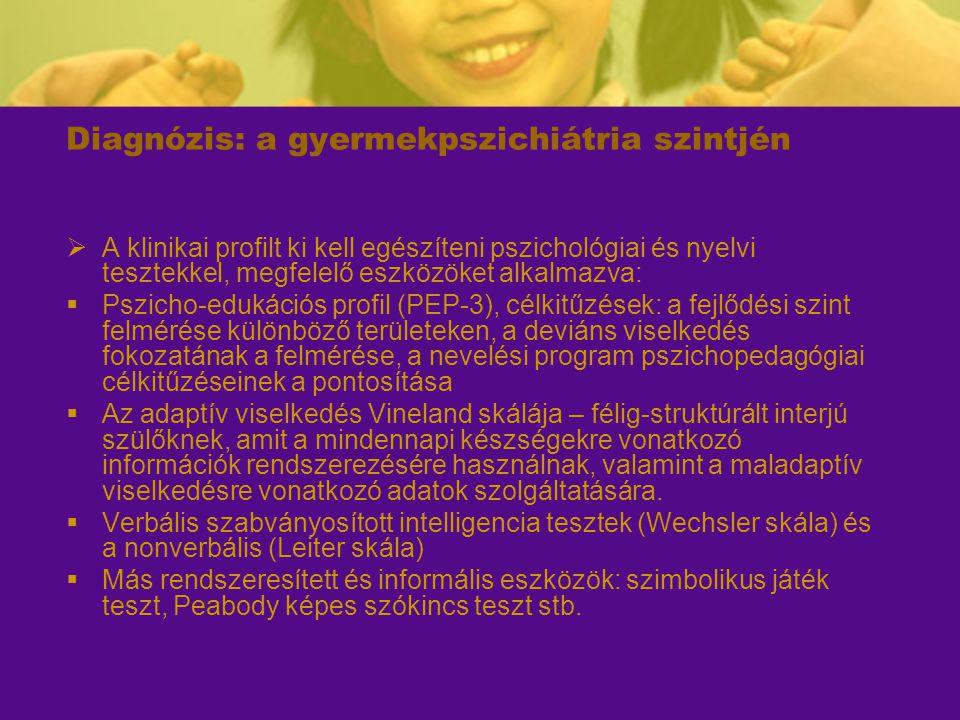 Diagnózis: a gyermekpszichiátria szintjén  A klinikai profilt ki kell egészíteni pszichológiai és nyelvi tesztekkel, megfelelő eszközöket alkalmazva: