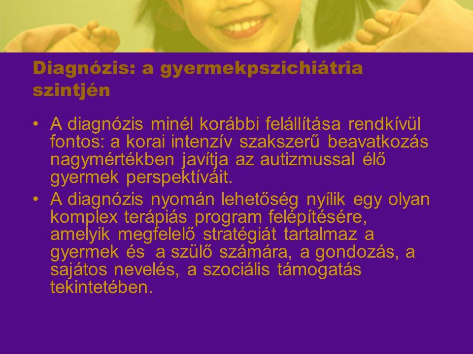 Diagnózis: a gyermekpszichiátria szintjén A diagnózis minél korábbi felállítása rendkívül fontos: a korai intenzív szakszerű beavatkozás nagymértékben
