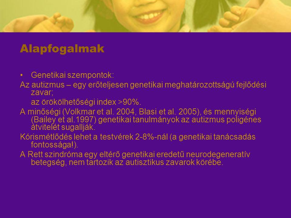 Alapfogalmak Genetikai szempontok: Az autizmus – egy erőteljesen genetikai meghatározottságú fejlődési zavar; az örökölhetőségi index >90%. A minőségi