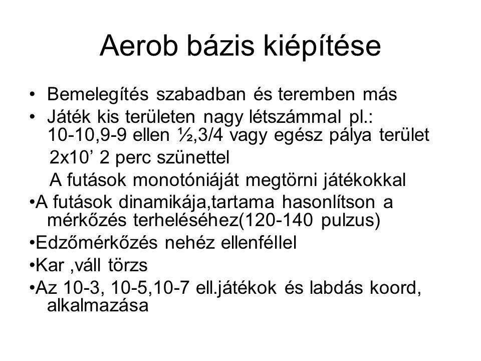 Aerob bázis kiépítése Bemelegítés szabadban és teremben más Játék kis területen nagy létszámmal pl.: 10-10,9-9 ellen ½,3/4 vagy egész pálya terület 2x