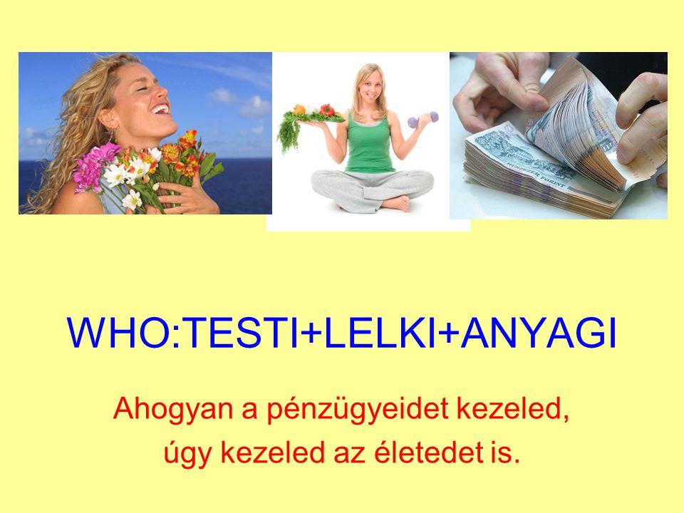 WHO:TESTI+LELKI+ANYAGI Ahogyan a pénzügyeidet kezeled, úgy kezeled az életedet is.