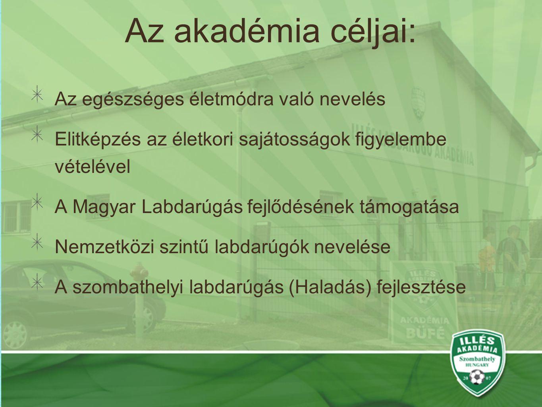 Az akadémia céljai: Az egészséges életmódra való nevelés Elitképzés az életkori sajátosságok figyelembe vételével A Magyar Labdarúgás fejlődésének támogatása Nemzetközi szintű labdarúgók nevelése A szombathelyi labdarúgás (Haladás) fejlesztése