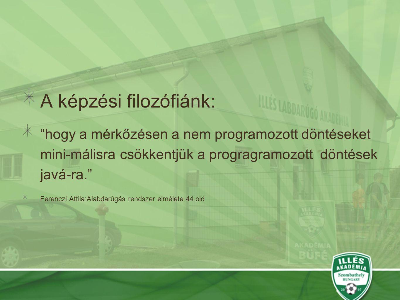 """A képzési filozófiánk: """"hogy a mérkőzésen a nem programozott döntéseket mini-málisra csökkentjük a progragramozott döntések javá-ra."""" Ferenczi Attila:"""