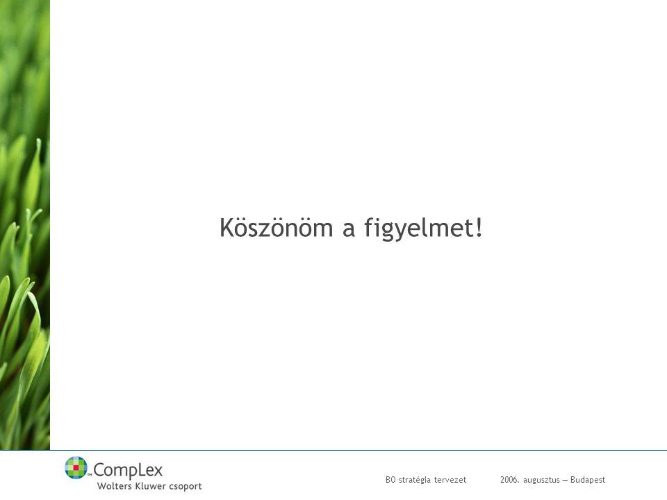 2006. augusztus — BudapestBO stratégia tervezet Köszönöm a figyelmet!