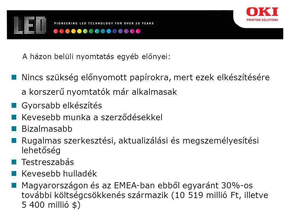 A házon belüli nyomtatás egyéb előnyei: Nincs szükség előnyomott papírokra, mert ezek elkészítésére a korszerű nyomtatók már alkalmasak Gyorsabb elkészítés Kevesebb munka a szerződésekkel Bizalmasabb Rugalmas szerkesztési, aktualizálási és megszemélyesítési lehetőség Testreszabás Kevesebb hulladék Magyarországon és az EMEA-ban ebből egyaránt 30%-os további költségcsökkenés származik (10 519 millió Ft, illetve 5 400 millió $)