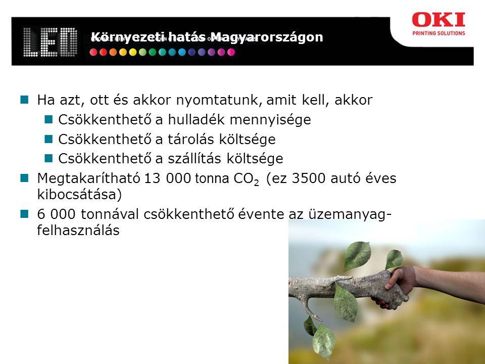 Környezeti hatás Magyarországon Ha azt, ott és akkor nyomtatunk, amit kell, akkor Csökkenthető a hulladék mennyisége Csökkenthető a tárolás költsége Csökkenthető a szállítás költsége Megtakarítható 13 000 tonna CO 2 (ez 3500 autó éves kibocsátása) 6 000 tonnával csökkenthető évente az üzemanyag- felhasználás