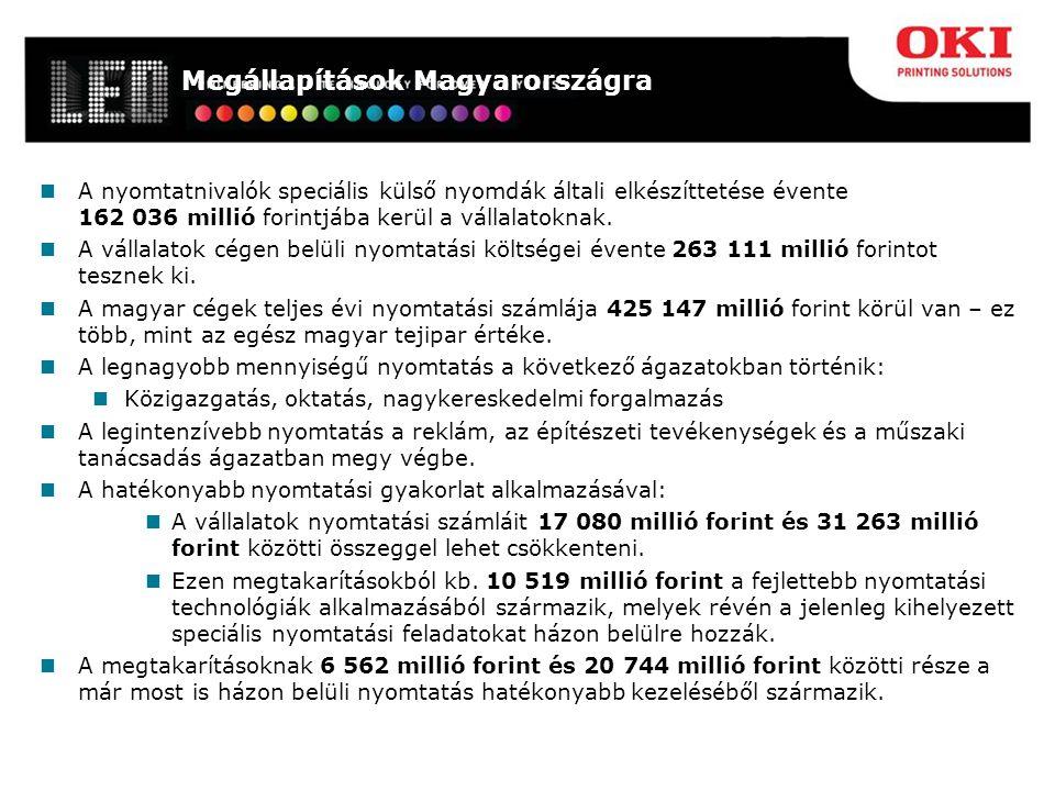 Megállapítások Magyarországra A nyomtatnivalók speciális külső nyomdák általi elkészíttetése évente 162 036 millió forintjába kerül a vállalatoknak.