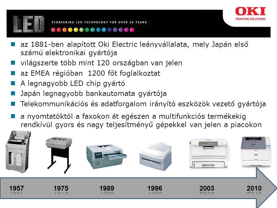 az 1881-ben alapított Oki Electric leányvállalata, mely Japán első számú elektronikai gyártója világszerte több mint 120 országban van jelen az EMEA régióban 1200 főt foglalkoztat A legnagyobb LED chip gyártó Japán legnagyobb bankautomata gyártója Telekommunikációs és adatforgalom irányító eszközök vezető gyártója a nyomtatóktól a faxokon át egészen a multifunkciós termékekig rendkívül gyors és nagy teljesítményű gépekkel van jelen a piacokon