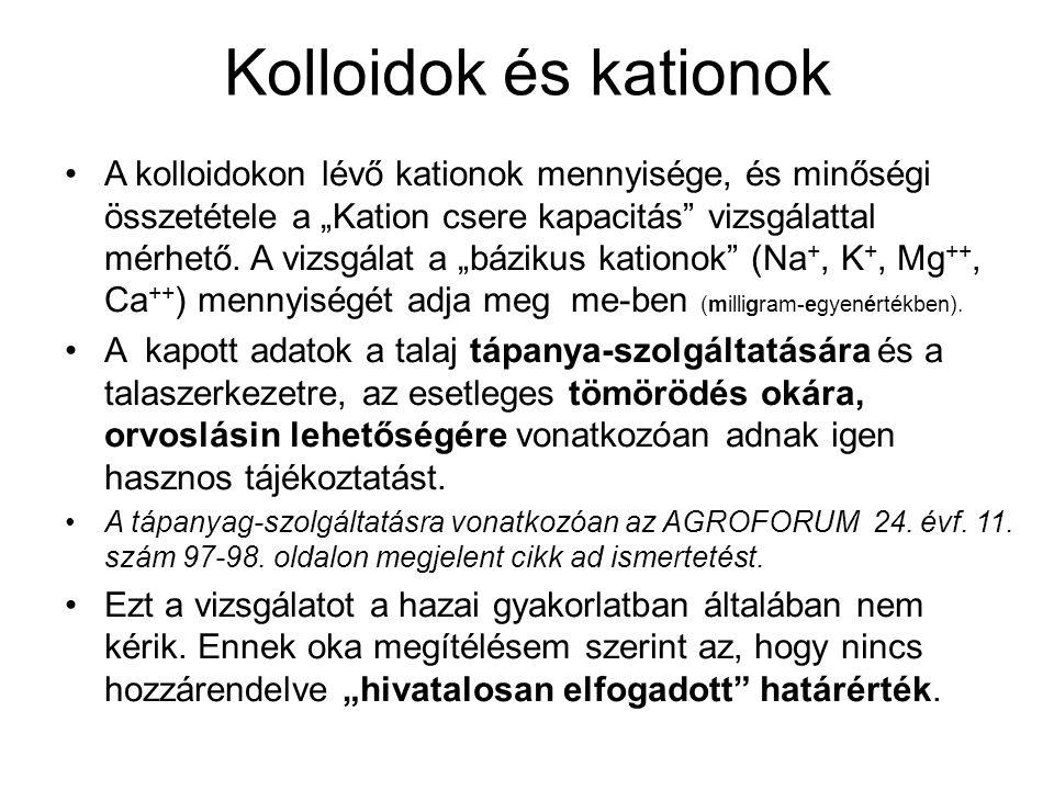 """Kolloidok és kationok A kolloidokon lévő kationok mennyisége, és minőségi összetétele a """"Kation csere kapacitás"""" vizsgálattal mérhető. A vizsgálat a """""""