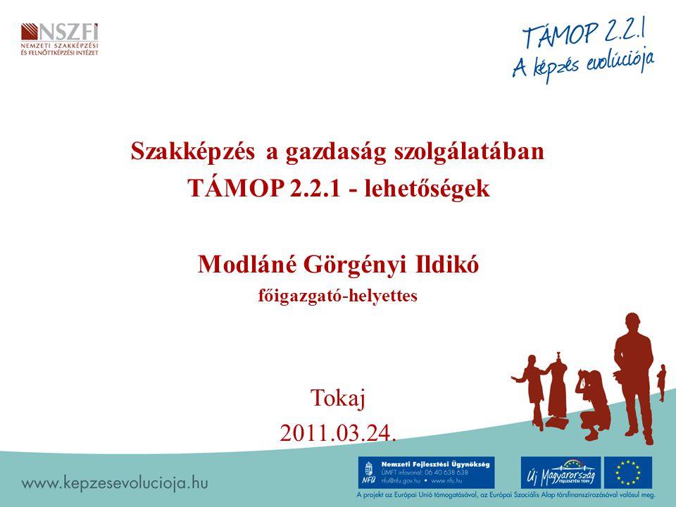 1 Szakképzés a gazdaság szolgálatában TÁMOP 2.2.1 - lehetőségek Modláné Görgényi Ildikó főigazgató-helyettes Tokaj 2011.03.24.