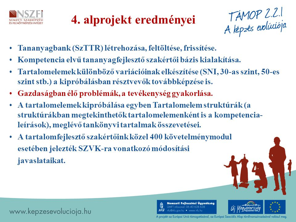 4.alprojekt eredményei Tananyagbank (SzTTR) létrehozása, feltöltése, frissítése.