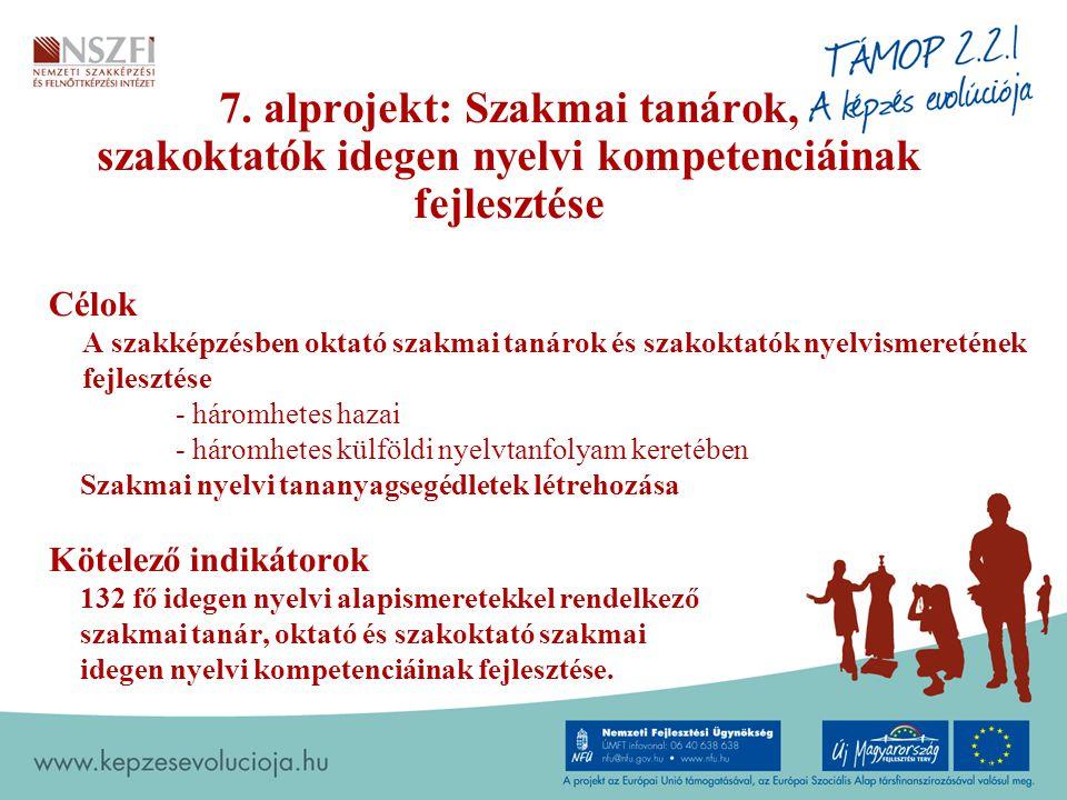 7. alprojekt: Szakmai tanárok, szakoktatók idegen nyelvi kompetenciáinak fejlesztése Célok A szakképzésben oktató szakmai tanárok és szakoktatók nyelv