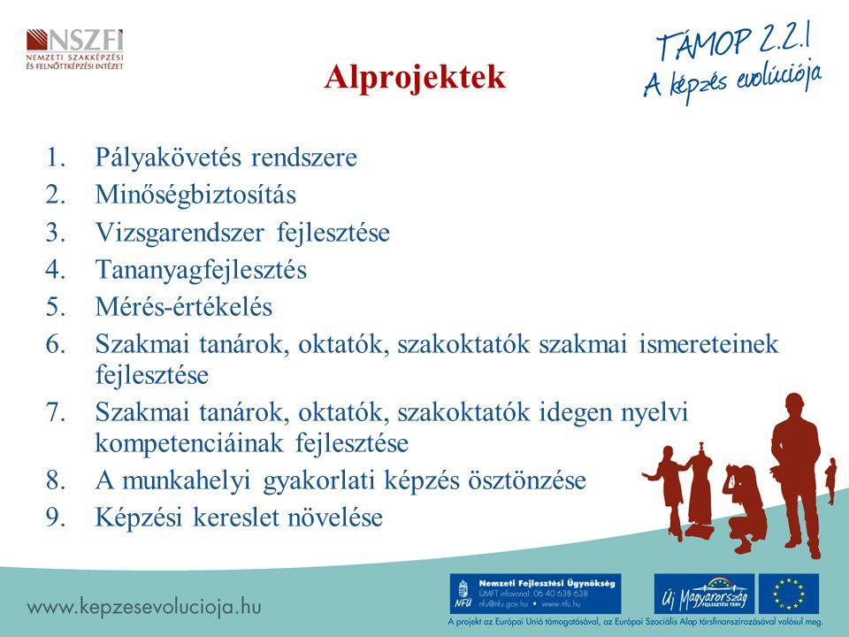 Alprojektek 1.Pályakövetés rendszere 2.Minőségbiztosítás 3.Vizsgarendszer fejlesztése 4.Tananyagfejlesztés 5.Mérés-értékelés 6.Szakmai tanárok, oktatók, szakoktatók szakmai ismereteinek fejlesztése 7.Szakmai tanárok, oktatók, szakoktatók idegen nyelvi kompetenciáinak fejlesztése 8.A munkahelyi gyakorlati képzés ösztönzése 9.Képzési kereslet növelése 6