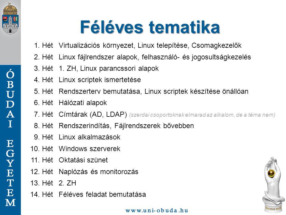 Féléves tematika 1.HétVirtualizációs környezet, Linux telepítése, Csomagkezelők 2.