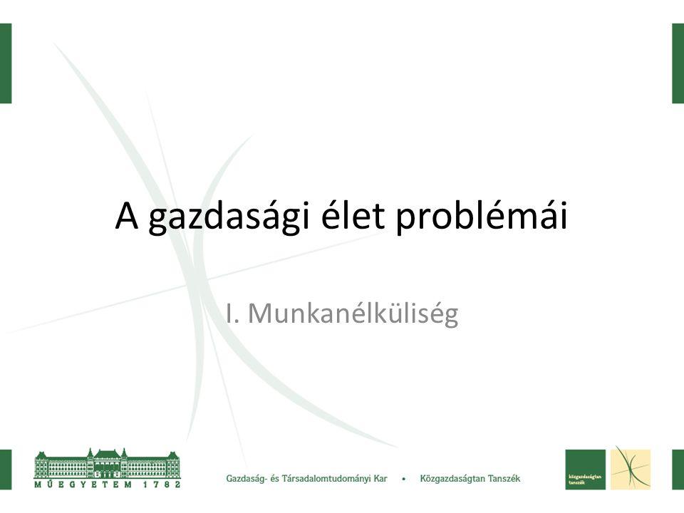 A gazdasági élet problémái I. Munkanélküliség